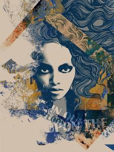 Ink Print with a Beautiful Lady Face, Decorative Hair and Painted Blots for T-Shirt by A Frants
