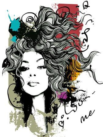 Ink Print with Girl and Decorative Hair for T-Shirt