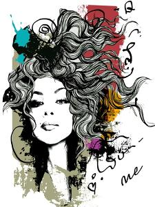 Ink Print with Girl and Decorative Hair for T-Shirt by A Frants