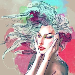 Watercolor Fashion Illustration with a Beautiful Lady with Decorative Hair by A Frants