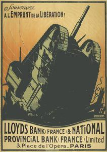 A French Poster Depicting a Tank Breaking Through Barbed Wire.