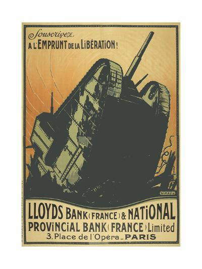 A French Poster Depicting a Tank Breaking Through Barbed Wire.--Giclee Print