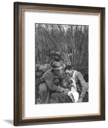 A French Soldier's Wounds are Treated, World War I, France, 1916--Framed Giclee Print