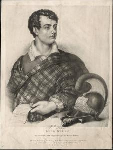 George Gordon Lord Byron English Poet as a Supporter of Greek Independence in 1826 by A. Friedel