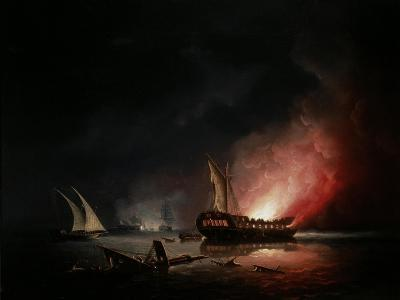 A Frigate on Fire after a Battle, 1835-Thomas Buttersworth-Giclee Print
