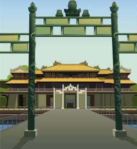 A Front View of the Imperial Palace in Hue, Viet Nam