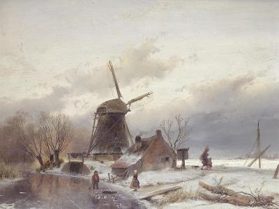 A Frozen River Landscape with a Windmill-Sir Lawrence Alma-Tadema-Giclee Print