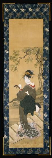 A Full Length Portrait of a Woman Tuning Her Shamisen on a Veranda-Toyokuni Utagawa-Giclee Print