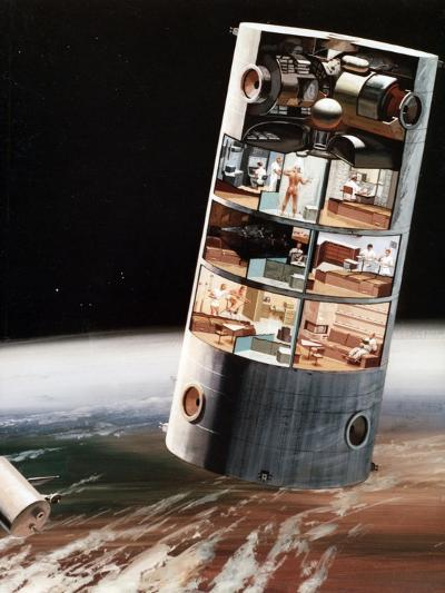 A Futuristic View of Living in Space, C1970S--Giclee Print