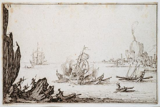 A Galley Rammed Amidships by a Man-O'-War under Sail Within Sight of Harbour, C.1617-Jacques Callot-Giclee Print