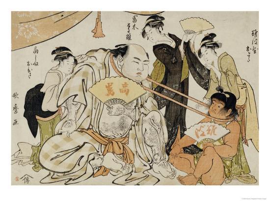 A Game of Neck Pull (Kubippiki) Between the Ozeki Tanikaze and Kintaro-Kitagawa Utamaro-Giclee Print