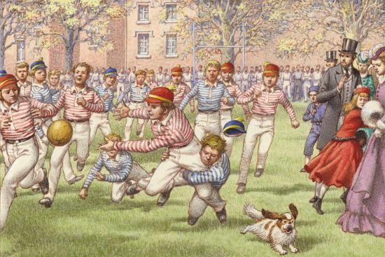 A Game of Rugby Football Being Played at Rugby School--Giclee Print