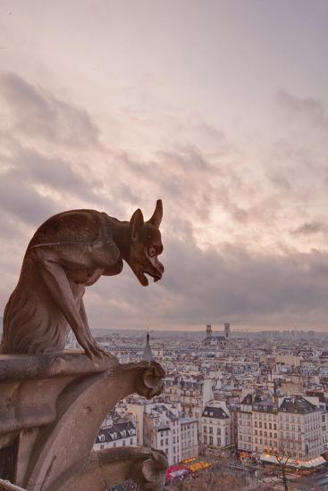 A Gargoyle on Notre Dame De Paris Cathedral Looks over the City, Paris, France, Europe-Julian Elliott-Photographic Print