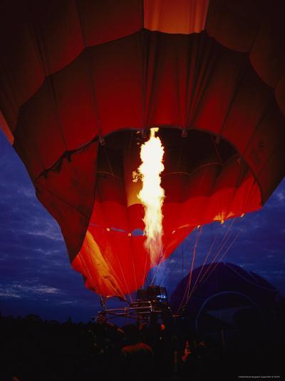 A Gas Jet Flame Heating Air for a Hot Air Balloon at Dawn-Jason Edwards-Photographic Print