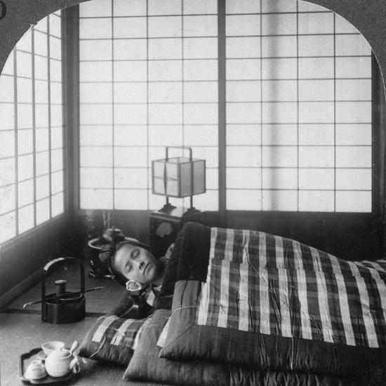 A Geisha Sleeping in a Tea House, Hikone, Japan, 1904-Underwood & Underwood-Photographic Print