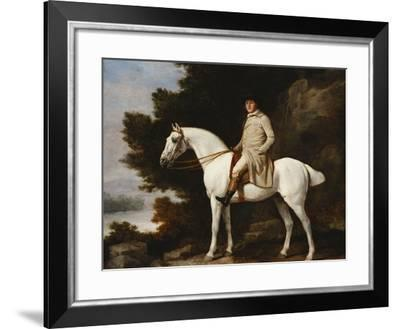A Gentleman on a Grey Horse in a Rocky Wooded Landscape-George Stubbs-Framed Giclee Print