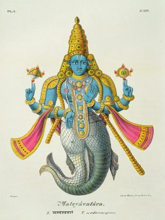 Matsyavatara or Matsya, from 'L'Inde Francaise...', Engraved by Marlet and Cie, Pub Paris 1827-1835