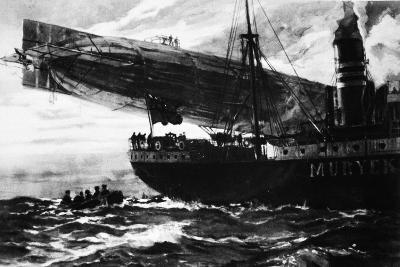 A German Airship Commencing a Raid: Holding Up a Neutral Ship, from 'The Illustrated War News'--Giclee Print