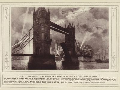 A German Fancy Picture of an Air-Raid on London, a Zeppelin over the Tower on 17 August--Photographic Print