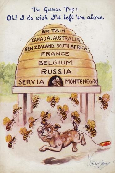 A German Puppy Being Stung by Allied Bees--Giclee Print