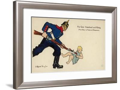 A German Soldier Bayonets a Baby with the Caption for God, Fatherland and the King--Framed Giclee Print