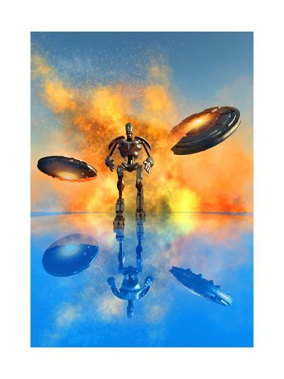 A Giant Robot and Ufo's on the Attack--Art Print