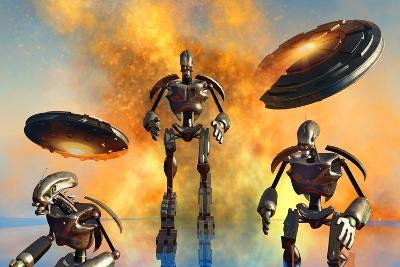 A Giant Robot Force on the Attack--Art Print