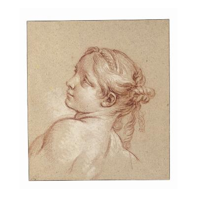 A Girl, Bust Length, Her Head Tilted to the Ledt-Francois Boucher-Giclee Print