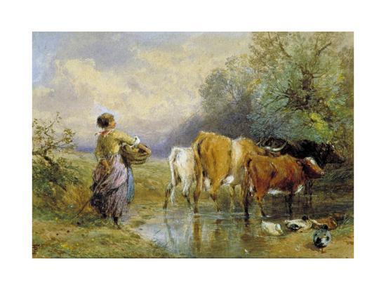 A Girl Driving Cattle across a Stream, 19th Century-Myles Birket Foster-Giclee Print