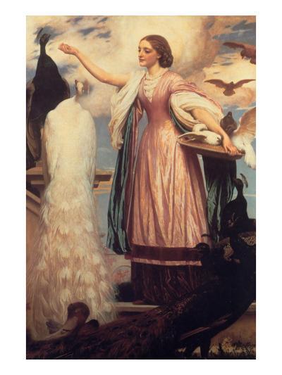 A Girl Feeding Peacocks-Frederick Leighton-Art Print