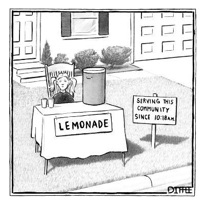 A girl is seen sitting at a lemonade stand next to a house with a sign ind? - New Yorker Cartoon-Matthew Diffee-Premium Giclee Print
