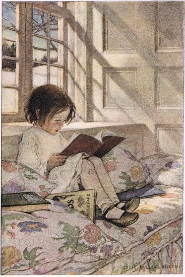 a girl reading from a childs garden of verses by robert louis stevenson published 1885by jessie willcox smith - A Childs Garden Of Verses