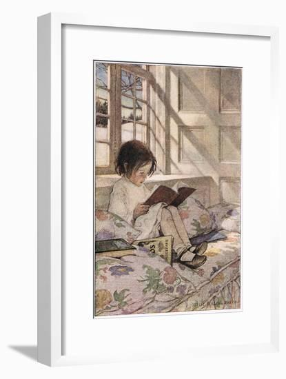 A Girl Reading, from 'A Child's Garden of Verses' by Robert Louis Stevenson, Published 1885-Jessie Willcox-Smith-Framed Giclee Print