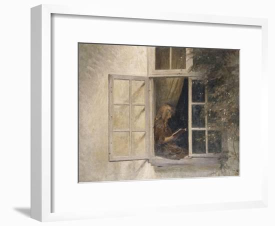 A Girl Reading in a Window-Peter Ilsted-Framed Giclee Print