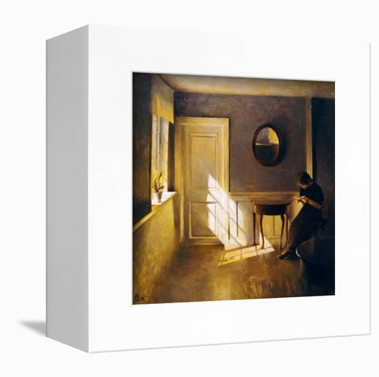 A Girl Reading in an Interior-Peter Ilsted-Framed Stretched Canvas Print