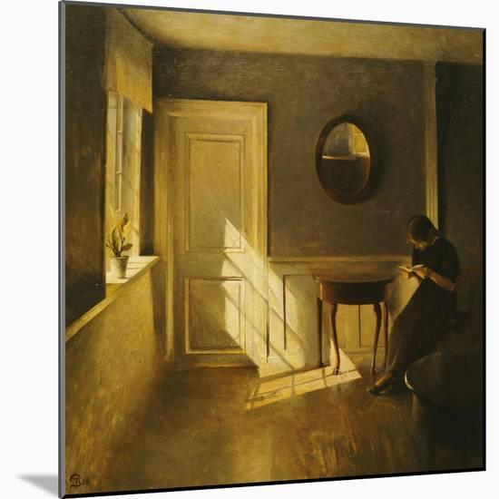 A Girl Reading in an Interior-Peter Ilsted-Mounted Premium Giclee Print