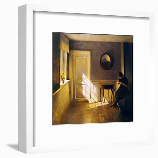 A Girl Reading in an Interior-Peter Ilsted-Framed Giclee Print