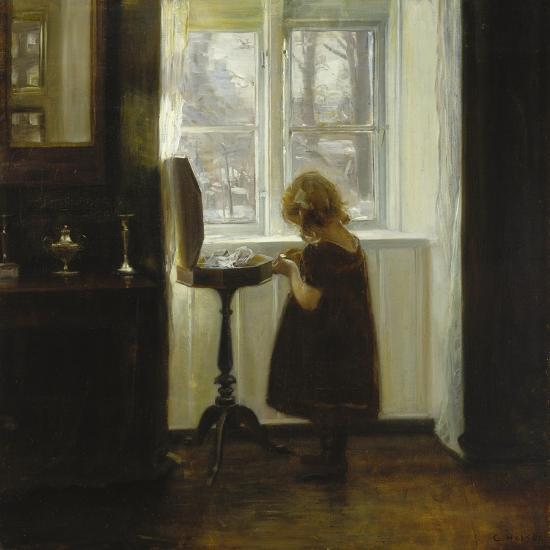 A Girl Standing by a Sewing Table-Carl Holsoe-Giclee Print