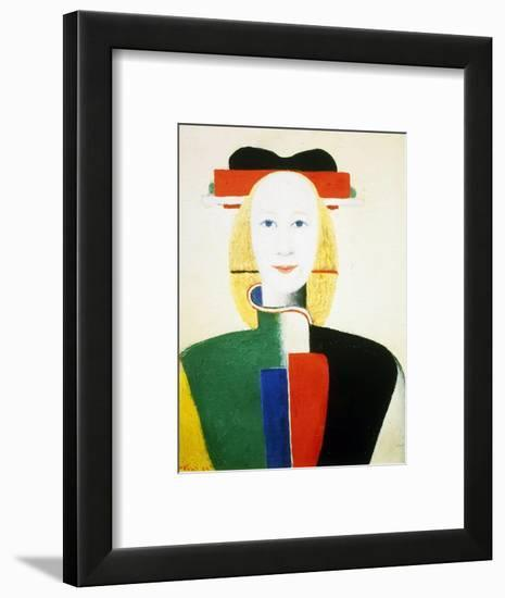 A Girl with a Comb, 1932-1933-Kazimir Malevich-Framed Premium Giclee Print