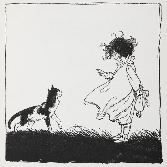 A Girl With a Doll Tells Off Her Cat-Arthur Rackham-Giclee Print