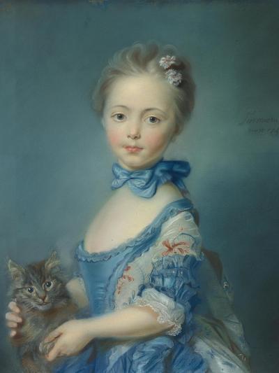 A Girl with a Kitten, 1745-Jean-Baptiste Perronneau-Giclee Print