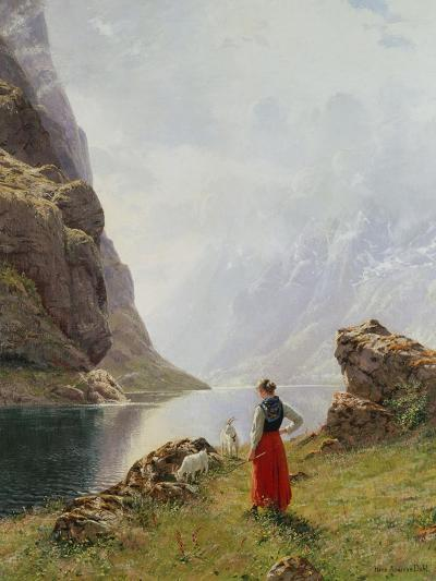 A Girl with Goats by a Fjord-Hans Dahl-Giclee Print
