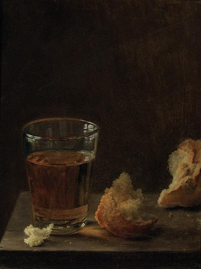 A Glass of Beer and a Bread Roll on a Table-Balthasar Denner-Giclee Print