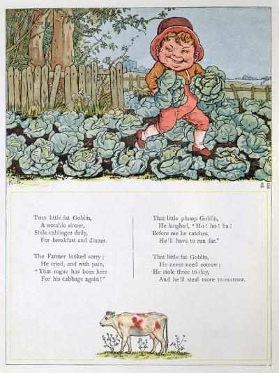 A Goblin Stealing Cabbages, Illustration for a poem from 'Under the Window'-Kate Greenaway-Giclee Print