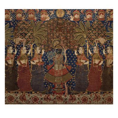 A Gold Chintz Pichhavai of Krishna--Giclee Print