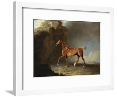 A Golden Chestnut Racehorse by a Rock Formation, 1800-Benjamin Marshall-Framed Giclee Print