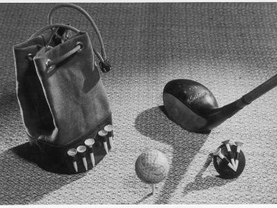 A Golf Ball, Some Tees and a Stout Three-Wood, Presented as an Elegant Golfing Tableau--Photographic Print