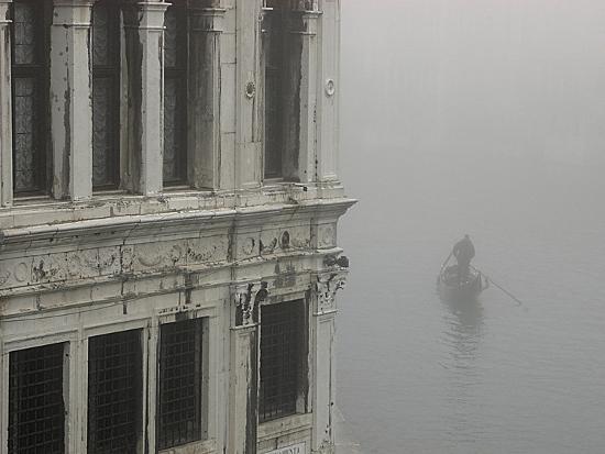 A Gondola Glides Through a Canal in Fog-Kike Calvo-Photographic Print