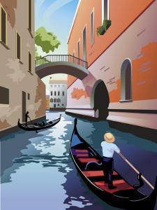 A Gondola Going Down a Waterway in Venice