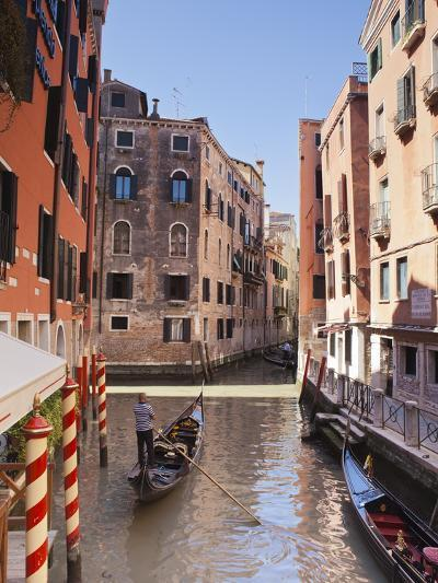 A Gondola on a Canal in Venice, UNESCO World Heritage Site, Veneto, Italy, Europe--Photographic Print